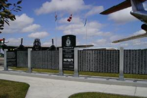 Memorial– Flying Officer Gibson Scott is commemorated on the Bomber Command Memorial Wall in Nanton, AB … photo courtesy of Marg Liessens