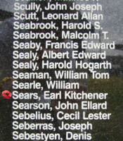 Memorial– Flying Officer Earl Kitchener Sears is commemorated on the Bomber Command Memorial Wall in Nanton, AB … photo courtesy of Marg Liessens