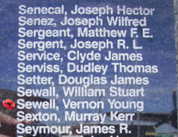 Memorial– Sergeant Vernon Young Hodgson Sewell is commemorated on the Bomber Command Memorial Wall in Nanton, AB … photo courtesy of Marg Liessens