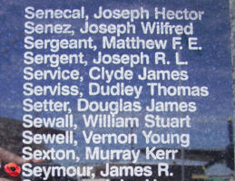 Memorial– Pilot Officer James Rodgers Seymour is commemorated on the Bomber Command Memorial Wall in Nanton, AB … photo courtesy of Marg Liessens