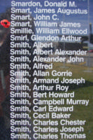 Memorial– Flight Sergeant William James Smart is commemorated on the Bomber Command Memorial Wall in Nanton, AB … photo courtesy of Marg Liessens