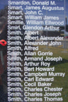 Memorial– Pilot Officer Alexander John Smith is commemorated on the Bomber Command Memorial Wall in Nanton, AB … photo courtesy of Marg Liessens