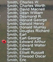 Memorial– Pilot Officer Edward Arthur Smith is also commemorated on the Bomber Command Memorial Wall in Nanton, AB … photo courtesy of Marg Liessens