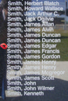 Memorial– Flight Sergeant James Edgar Smith is commemorated on the Bomber Command Memorial Wall in Nanton, AB … photo courtesy of Marg Liessens