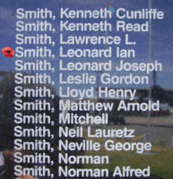 Memorial– Flying Officer Leonard Ian Smith is commemorated on the Bomber Command Memorial Wall in Nanton, AB … photo courtesy of Marg Liessens