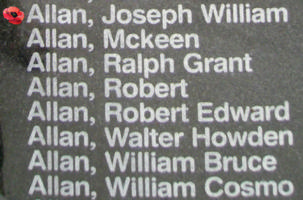 Memorial– Flight Sergeant Joseph William Allan is also commemorated on the Bomber Command Memorial Wall in Nanton, AB … photo courtesy of Marg Liessens