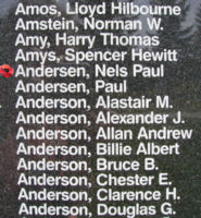 Memorial– Pilot Officer Nels Peter Helin Andersen is also commemorated on the Bomber Command Memorial Wall in Nanton, AB … photo courtesy of Marg Liessens