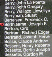 Memorial– Pilot Officer Joseph Francois Exavier Gilles Berthiaume is also commemorated on the Bomber Command Memorial Wall in Nanton, AB … photo courtesy of Marg Liessens