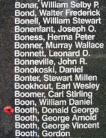 Memorial– Flight Sergeant Donald George Booth is also commemorated on the Bomber Command Memorial Wall in Nanton, AB … photo courtesy of Marg Liessens