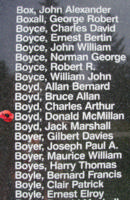 Memorial– Pilot Officer Donald McMillan Boyd is also commemorated on the Bomber Command Memorial Wall in Nanton, AB … photo courtesy of Marg Liessens