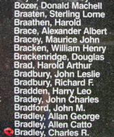 Memorial– Pilot Officer Charles Raymond Bradley is also commemorated on the Bomber Command Memorial Wall in Nanton, AB … photo courtesy of Marg Liessens