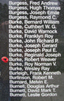 Memorial– Flying Officer Robert Weaver Burke is also commemorated on the Bomber Command Memorial Wall in Nanton, AB … photo courtesy of Marg Liessens