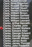 Memorial– Pilot Officer Donald Wallace Clarke is also commemorated on the Bomber Command Memorial Wall in Nanton, AB … photo courtesy of Marg Liessens