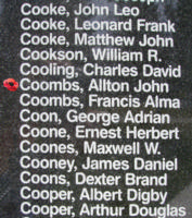 Memorial– Pilot Officer Allton John Richard Coombs is also commemorated on the Bomber Command Memorial Wall in Nanton, AB … photo courtesy of Marg Liessens
