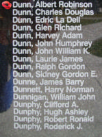 Memorial– Squadron Leader Pilot Albert Robinson Dunn is also commemorated on the Bomber Command Memorial Wall in Nanton, AB … photo courtesy of Marg Liessens