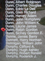 Memorial– Flight Sergeant Ralph Gordon Dunn is also commemorated on the Bomber Command Memorial Wall in Nanton, AB … photo courtesy of Marg Liessens