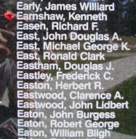 Memorial– Flying Officer Kenneth Earnshaw is also commemorated on the Bomber Command Memorial Wall in Nanton, AB … photo courtesy of Marg Liessens
