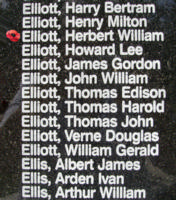 Memorial– Pilot Officer Herbert William Elliott is also commemorated on the Bomber Command Memorial Wall in Nanton, AB … photo courtesy of Marg Liessens