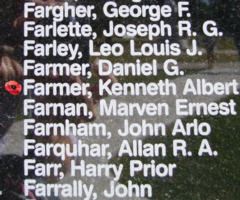 Memorial– Sergeant Kenneth Albert Farmer is also commemorated on the Bomber Command Memorial Wall in Nanton, AB … photo courtesy of Marg Liessens