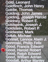 Memorial– Flying Officer Harold Robert Good is also commemorated on the Bomber Command Memorial Wall in Nanton, AB … photo courtesy of Marg Liessens