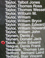 Memorial– Pilot Officer John Edward Tazuk is commemorated on the Bomber Command Memorial Wall in Nanton, AB … photo courtesy of Marg Liessens