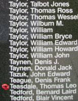 Memorial– Flying Officer Thomas Leo Whigham Teasdale is commemorated on the Bomber Command Memorial Wall in Nanton, AB … photo courtesy of Marg Liessens