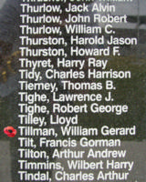 Memorial– Pilot Officer William Gerard Tillman is commemorated on the Bomber Command Memorial Wall in Nanton, AB … photo courtesy of Marg Liessens