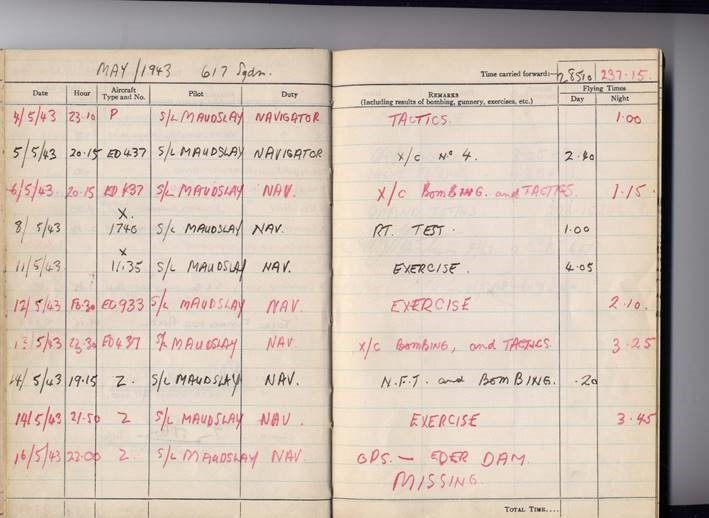 Document– This is the final page of Robert 'Turk' Urquhart's logbook.