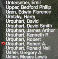 Memorial– Flying Officer Robert Alexander Urquhart is also commemorated on the Bomber Command Memorial Wall in Nanton, AB … photo courtesy of Marg Liessens