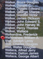 Memorial– Pilot Officer William Alexander Walkinshaw  is also commemorated on the Bomber Command Memorial Wall in Nanton, AB … photo courtesy of Marg Liessens