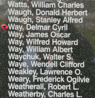 Memorial– Flight Sergeant Delmar Cyril Way is also commemorated on the Bomber Command Memorial Wall in Nanton, AB … photo courtesy of Marg Liessens