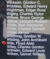Memorial– Pilot Officer Floyd Alvin Wile is also commemorated on the Bomber Command Memorial Wall in Nanton, AB … photo courtesy of Marg Liessens