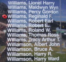 Memorial– Flight Lieutenant Reginald Frank Williams is also commemorated on the Bomber Command Memorial Wall in Nanton, AB … photo courtesy of Marg Liessens