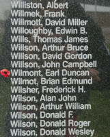 Memorial– Pilot Officer Earl Duncan Wilmot as commemorated on the Bomber Command Memorial Wall in Nanton, AB … photo courtesy of Marg Liessens