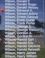 Memorial– Pilot Officer Edmond Kenneth Wilson is also commemorated on the Bomber Command Memorial Wall in Nanton, AB … photo courtesy of Marg Liessens