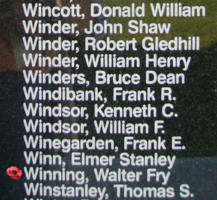 Memorial– Flying Officer Walter Fry Winning is also commemorated on the Bomber Command Memorial Wall in Nanton, AB … photo courtesy of Marg Liessens