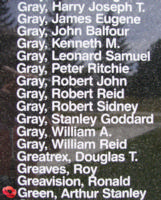 Memorial– Warrant Officer Class II Arthur Stanley Green is also commemorated on the Bomber Command Memorial Wall in Nanton, AB … photo courtesy of Marg Liessens