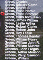 Memorial– Pilot Officer Frank Stanford Green is also commemorated on the Bomber Command Memorial Wall in Nanton, AB … photo courtesy of Marg Liessens