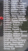 Memorial– Flight Sergeant Leslie George Griffith is also commemorated on the Bomber Command Memorial Wall in Nanton, AB … photo courtesy of Marg Liessens