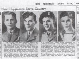 Newspaper clipping– Photograph of F/Sgt. Higginson and his three brothers who served during WWII.