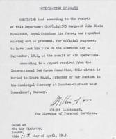 Document– RCAF notification of death.  The International Red Cross had informed them that his body was interred in the POW section of a municipal cemetery near Dusseldorf.