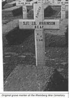 Grave marker– Wooden cross on Sgt. Higginson's grave at Rheinberg War Cemetery.