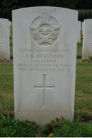 Grave marker– Photo of permanent grave marker at Rheinberg War Cemetery,   courtesy of Fred from the Netherlands on Find a Grave.