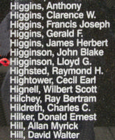 Memorial– Pilot Officer Lloyd George Higginson is also commemorated on the Bomber Command Memorial Wall in Nanton, AB … photo courtesy of Marg Liessens
