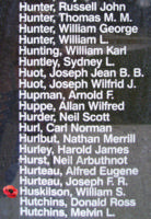 Memorial– Flying Officer William St Clair Huskilson is also commemorated on the Bomber Command Memorial Wall in Nanton, AB … photo courtesy of Marg Liessens