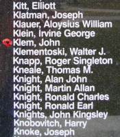 Memorial– Sergeant John Klem is also commemorated on the Bomber Command Memorial Wall in Nanton, AB … photo courtesy of Marg Liessens