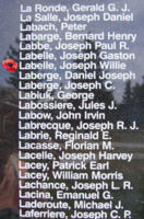 Memorial– Sergeant Joseph Willie Conrad Labelle is also commemorated on the Bomber Command Memorial Wall in Nanton, AB … photo courtesy of Marg Liessens