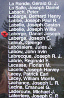 Memorial– Warrant Officer Class II Daniel Joseph Laberge is also commemorated on the Bomber Command Memorial Wall in Nanton, AB … photo courtesy of Marg Liessens