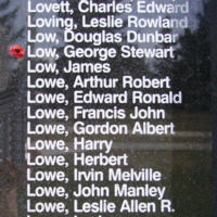 Memorial– Flying Officer George Stewart Low is also commemorated on the Bomber Command Memorial Wall in Nanton, AB … photo courtesy of Marg Liessens