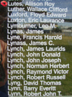 Memorial– Warrant Officer Class II Allison Roy Lutes is also commemorated on the Bomber Command Memorial Wall in Nanton, AB … photo courtesy of Marg Liessens